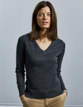 Ladies` V-Neck Knitted Pullover